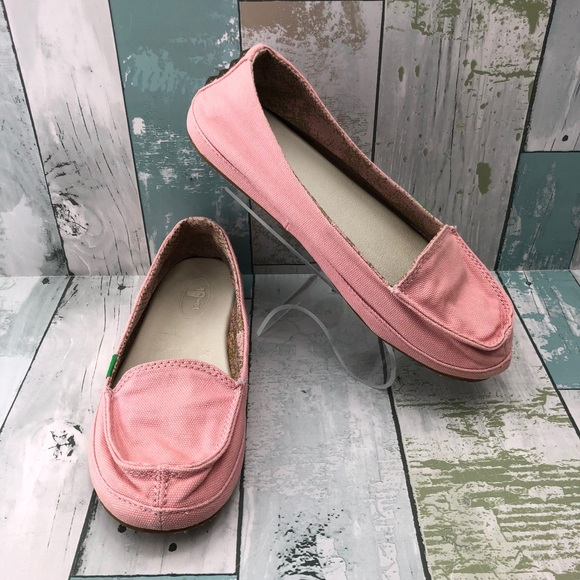 Sanuk Shoes - Sanuk Pink Canvas Loafers Size 7